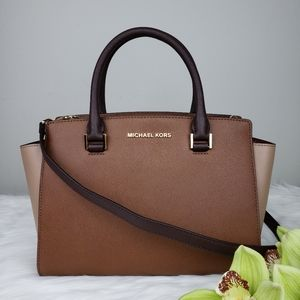 🌺NWT Michael Kors MD Selma Satchel bag brown MK